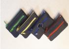 01149 Schlüsseltasche m. farbiger Doppelnaht + farbigem Nalon-RV + Geldfach